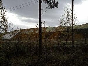 Iron(II) sulfate - Iron(II) sulfate outside a titanium dioxide factory in Kaanaa, Pori, Finland.
