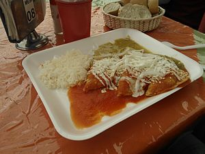 Enchilada - Enchiladas with red and green sauces.