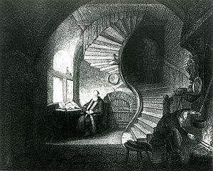 Philosopher in Meditation - Engraved reproduction by Devilliers l'aîné after Rembrandt's Philosopher in Meditation (1814)