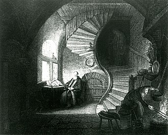 Philosopher in Meditation - Engraved reproduction by Devilliers l'aîné after Rembrandt's Philosopher in Meditation (1814)
