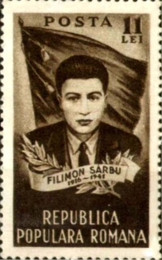 Filimon Sârbu - Filimon Sârbu on a 1951 stamp issued by the Romanian People's Republic