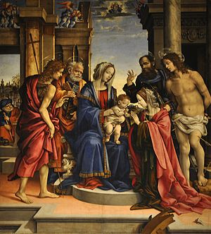 Filippino Lippi - Mystic Wedding of St Catherine Virgin and Martyr (1501) Basilica of San Domenico, Bologna, Italy