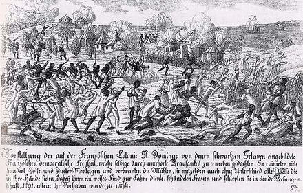 Saint-Domingue slave revolt in 1791 Fire in Saint-Domingo 1791, German copper engraving.jpg