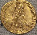 First Umayyad gold dinar, Caliph Abd al-Malik, 695 CE (cropped).jpg