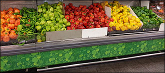 Capsicum annuum - Five colors of peppers in an Israeli supermarket