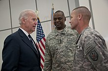 Vice President Joe Biden, Austin, and Command Sergeant Major Earl Rice, at an event marking the award of the Iraq Commitment Medal in December 2011