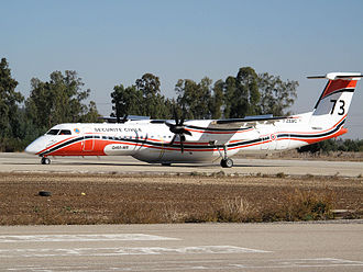 France–Israel relations - A French fire fighting plane (Bombardier Dash-8) preparing for takeoff in northern Israel