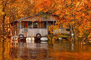 Ouachita River - A floating camp on the Ouachita River in Louisiana
