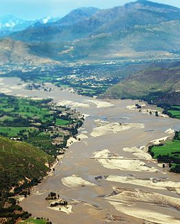 Flood-affected area in the Swat valley, Pakistan.jpg