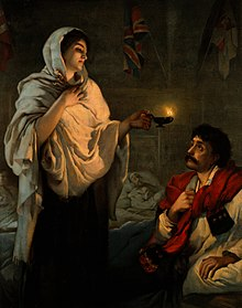 The Lady with the Lamp popular lithograph reproduction of a painting by Henrietta Rae, 1891.