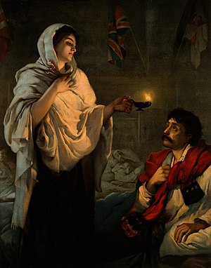 Florence Nightingale Faculty of Nursing and Midwifery - Florence Nightingale, depicted in this popular lithograph reproduction of The Lady with the Lamp as painted by Henrietta Rae, 1891.