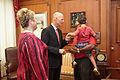 Florida Governor Rick Scott welcomes the 2016 Down Syndrome Awareness Week with fist-bumps for Kennedi Beahn and Xavier Robinson 02.jpg