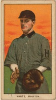 "Baseball card of a player in uniform with an ""H"" on the sleeve"