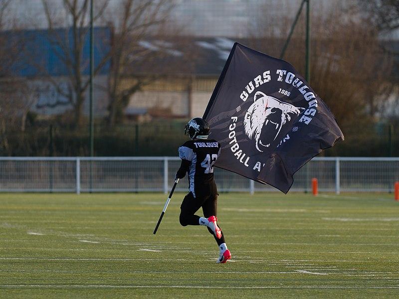 Junior—2 March 2013, stade des Argoulets. Match between:  Ours de Toulouse—Kangourous de Pessac   Foot US junior, 2 mars 2013