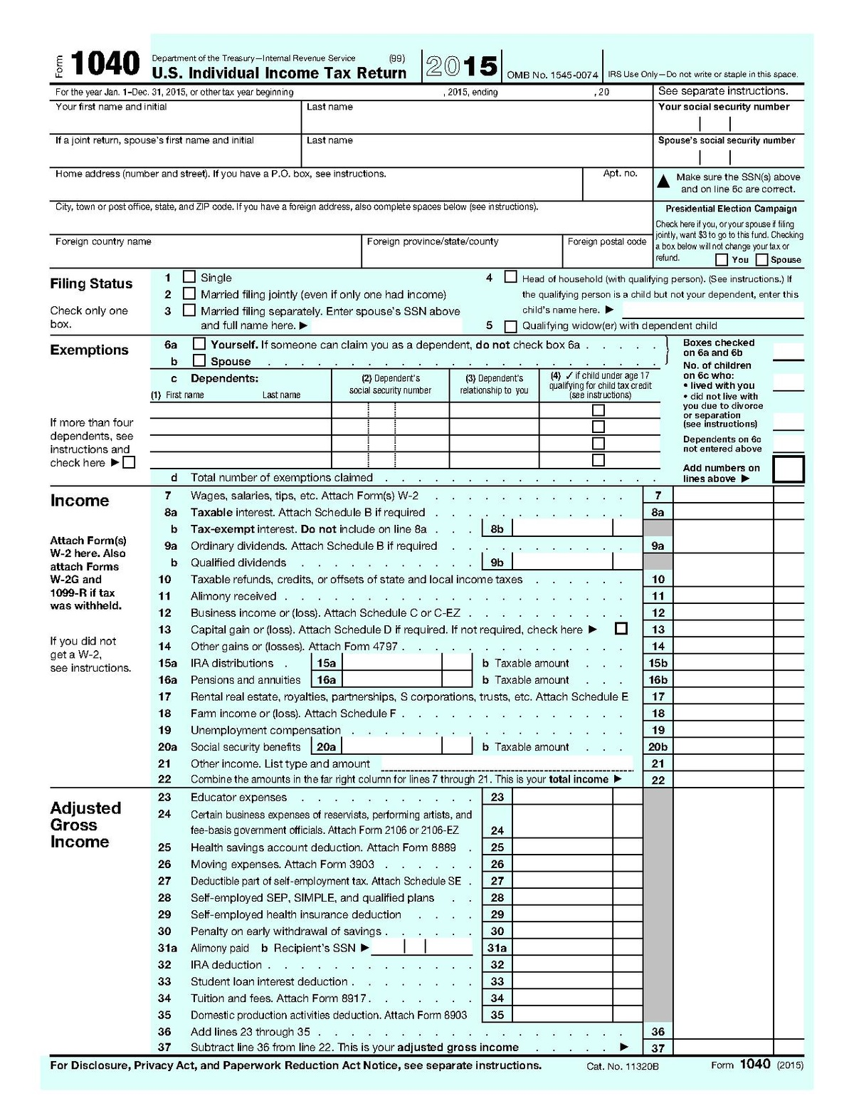 Form 1040 Wikipedia – 1040 Ez Worksheet