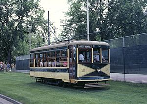 Fort Collins Municipal Railway - Car 21 leaving City Park