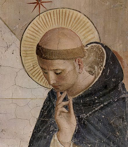 "The ""Roman"" tonsure, in the shape of a crown, differing from the Irish tradition, which is unclear but involved shaving the hair from ear to ear in some fashion Fra Angelico 052.jpg"