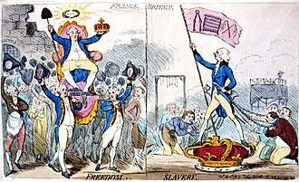 "Jacques Necker - In this 1789 engraving, James Gillray caricatures the triumph of Necker (seated, on left) in 1789, comparing its effects on freedom unfavorably to those of William Pitt the Younger in Britain. France has the caption ""Freedom,"" while Britain has the caption ""Slavery."""