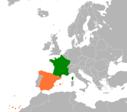 Map indicating locations of France and Spain