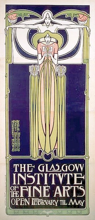 Royal Glasgow Institute of the Fine Arts - Frances MacDonald: Poster for the Glasgow Institute of the Fine Arts (1895)