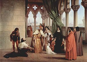 Francesco Foscari - The Parting of the Two Foscari by Francesco Hayez,1842 (Galleria d'Arte Moderna, Florence).