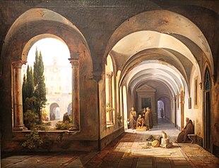 Franciscan monks in the cloister of Santa Maria in Ara Coeli