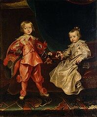 Doppelbildnis König Ferdinand IV. (1633-1654) mit seiner Schwester, Erzherzogin Maria Anna (1634-1696) als Kinder, in ganzer Figur