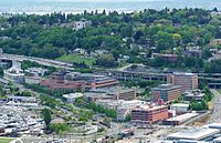 Fred Hutchinson Cancer Research Center from Space Needle - Seattle.JPG