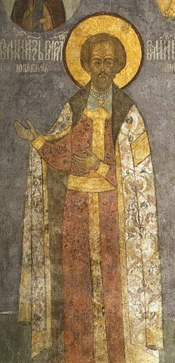 Frescos in Cathedral of the Archangel in Moscow - west wall 01 - Vasily Kosoy.jpg
