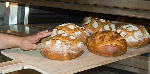Freshly baked bread loaves