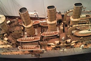 Prinz Adalbert-class cruiser - Midsection of Friedrich Carl in a miniature in the Deutsches Museum showing the ship's secondary armament on the side.