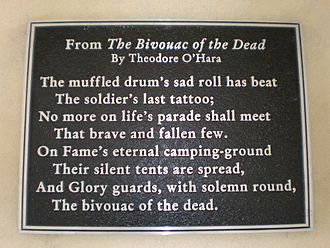 Bivouac of the Dead - A plaque quoting the poem at Golden Gate National Cemetery