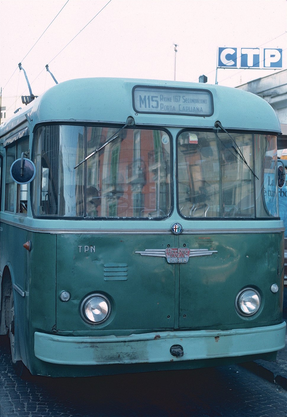 Front end of 1962 CTP Alfa Romeo trolleybus 18 in 1985