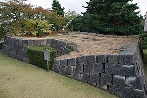 1948 Fukui earthquake - A collapsed stone wall at Fukui Castle