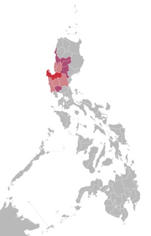 DWGD-TV - Red: Home location of GMA Dagupan Light red and red: Market audience of GMA Dagupan Violet: Areas that may receive signals from GMA Dagupan