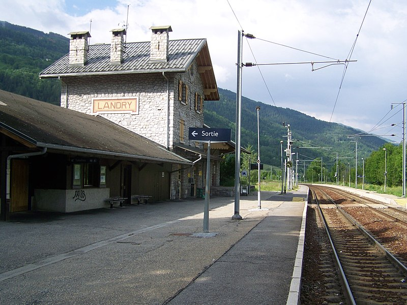Tracks and platforms of commune of Landry railway station in Savoie, France.