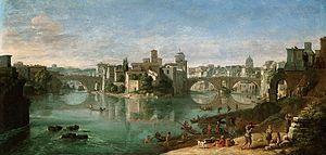 Caspar van Wittel - View of the Tiber in Rome