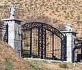 Gate and Gargoyles on South Ln, Redlands 1-2012 (6808111223).jpg