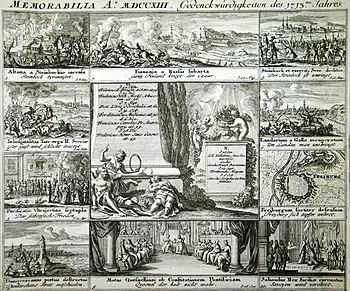 Memorabilia A. MDCCXXIII Memorabilia of the 1713th year, from: Memorabilia of the current eighteenth century & c., Nuremberg 1739