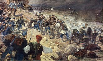 Austro-Hungarian campaign in Bosnia and Herzegovina in 1878 - Battle of Jajce, painting by Karl Pippich