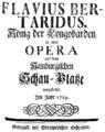 Georg Philipp Telemann - Flavius Bertaridus - titlepage of the libretto - Hamburg 1729.png