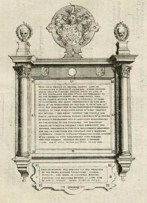George Abbot (author) - Memorial tablet to George Abbot in Caldecote Church, 1656 engraving