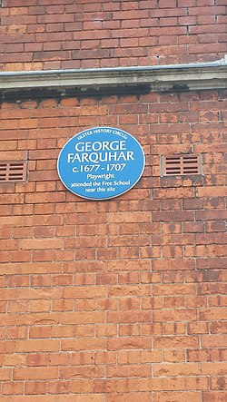 Photo of George Farquhar blue plaque