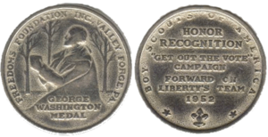 Freedoms Foundation - George Washington Medal issued in 1952 as part of the BSA theme Forward on Liberty's Team