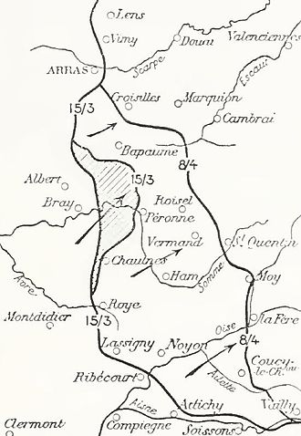 Operations on the Ancre, January–March 1917 - Image: German withdrawals, Noyon Salient, March April 1917