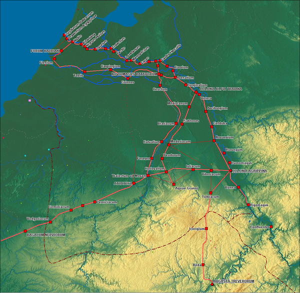 Borders of the Germania Inferior, with main roads and cities/forts Germania inferior roads towns.png