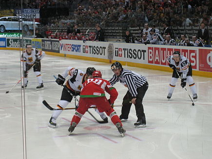 Belarus defeated Germany 2-1 in overtime, in the qualification round. Germany-Belarus-2010-Hockey-World-Cup-Face-Off.jpg