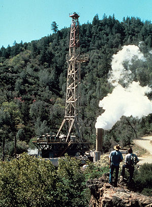 The Geysers - Drilling a geothermal well, 1977 (USGS)
