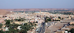 Panoramic view of Ghardaïa (Tagherdayt) with the dry bed of Wadi Mzab on the right side.