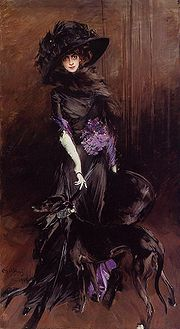 Marchesa Luisa Casati (1881-1957) with a greyhound by Giovanni Boldini